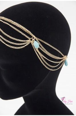 Bijou de tête et front, chaîne et bijou